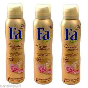 (17,76€/L)3x 150ml FA Deodorant Oriental Moments 48h frische Duft der Wüstenrose