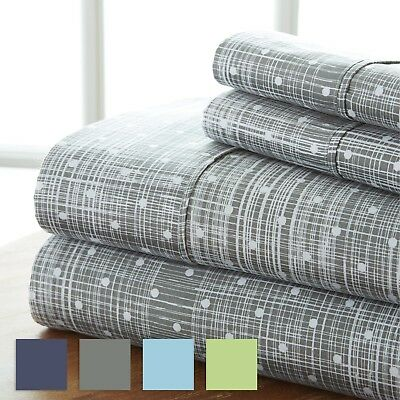Ultra Soft 4 Piece Polka Dot Printed Sheet Set - Hotel Collection by iEnjoy