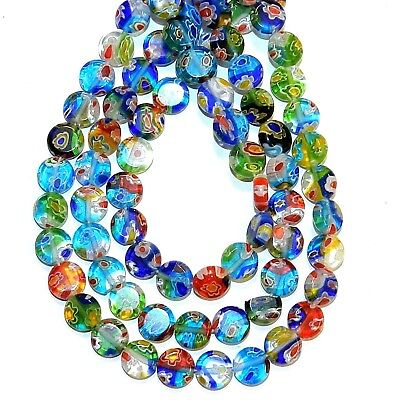 8mm Millefiori Glass - G3568 Mosaic Multi-Color Flower 8mm Flat Round Millefiori Glass Beads 13
