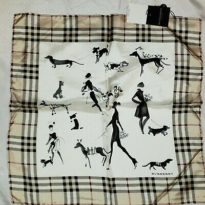 "NWT AUTHENTIC BURBERRY SILK SCARF NECKERCHIEF 19"" WALKING THE DOG NOVACHECK"