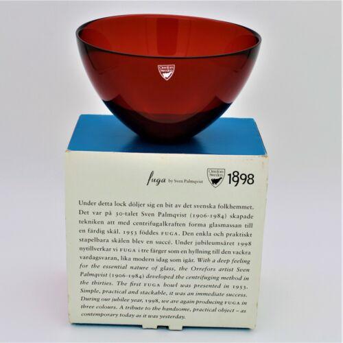 """Orrefors Fuga SVEN PALMQVIST Vintage Red Bowl 6 1/4"""" w/Box NOS 1998 sign"""