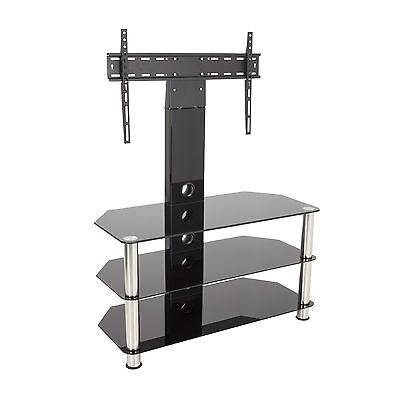 "Black Glass TV Stand With Wall Bracket for 32 - 55"" TVs -90cm Wide With Shelves"