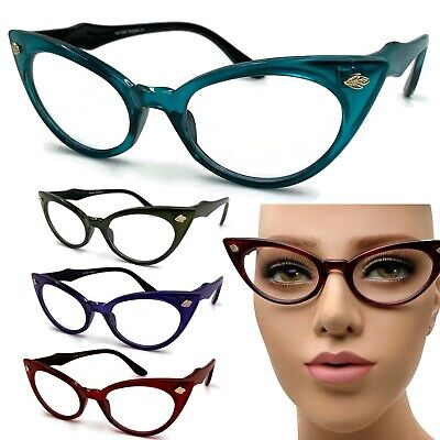 Clear Lens Cat Eye Vintage Style Ombre Glasses Eyeglasses 50s Retro Women 60s (Cat Eye Style Glasses)