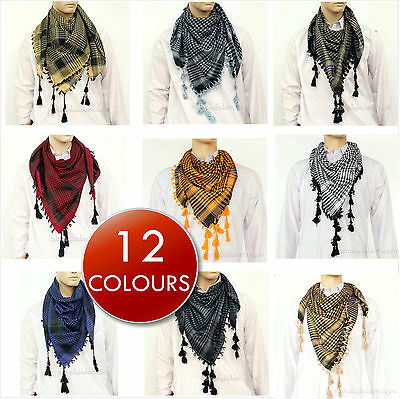 Palestinian Scarf - Shemagh Keffiyeh Palestinian Neck Scarf WOVEN not printed design 12 colours