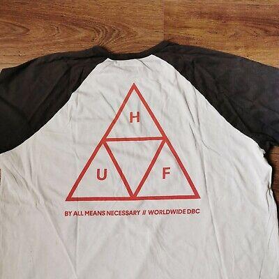HUF Black and White Triangle Skateboard Raglan 3/4 Sleeve T-Shirt Mens Size XL
