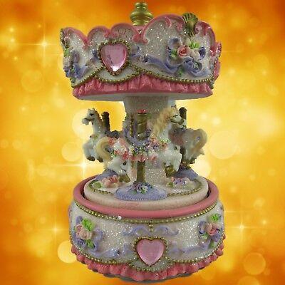 Spiel Uhr Karusell mit Musik rosa Rand bemahlt H.17 Nostalgie Geschenk