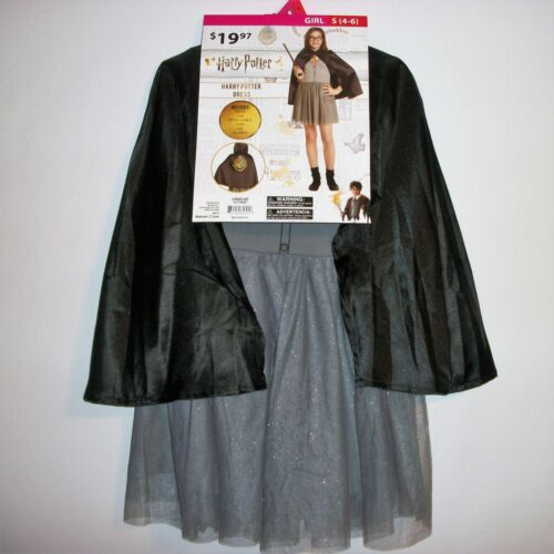Girls Harry Potter Dress, Cape and Glasses Costume/ Dress Up Size S (4-6)