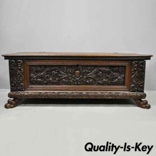 18th C. French Renaissance Carved Walnut Paw Foot Coffer Trunk Blanket Chest
