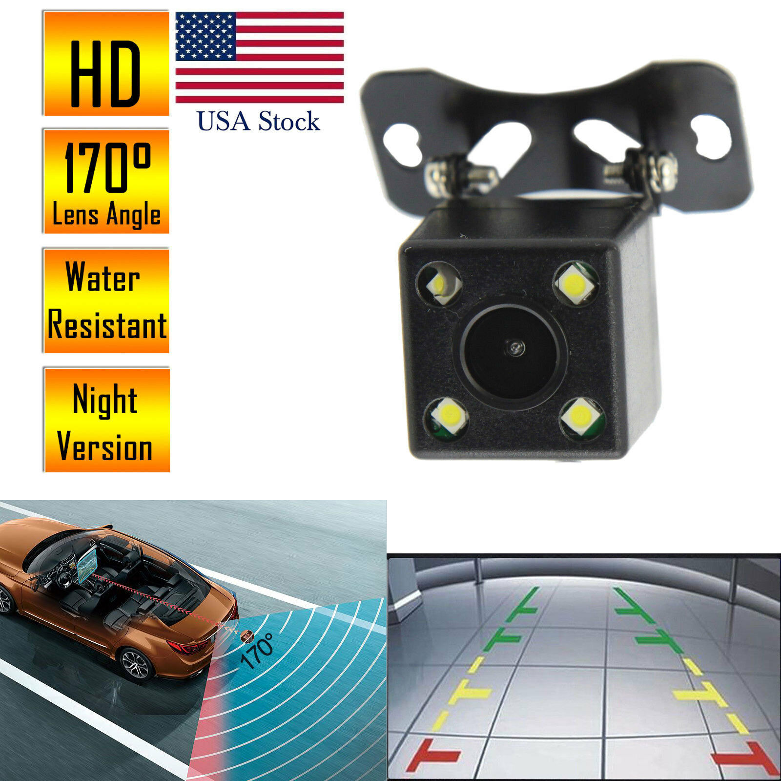 Car Rear View Reverse Backup Camera Parking Waterproof Night Vision HD 170º CMOS Car Video
