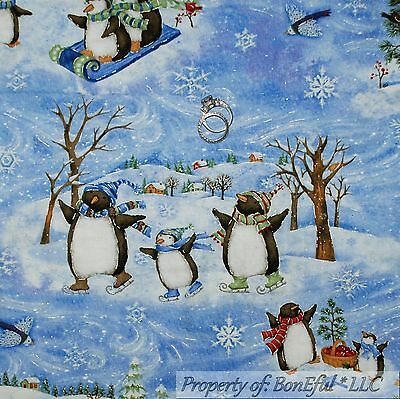 BonEful FABRIC FQ Cotton Quilt Blue White Penguin Xmas Tree Silver Snowflake USA Blue Green Silver Christmas Trees