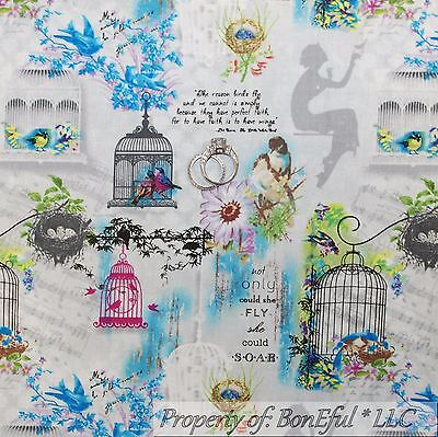 BonEful Fabric FQ Cotton Quilt Gray White Blue Flower Love Bird Cage Shabby Chic