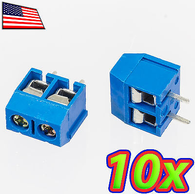 10x 2-pin 5.08mm 2.54mm X 2 Pitch Pcb Mount Screw Terminal Block Connector