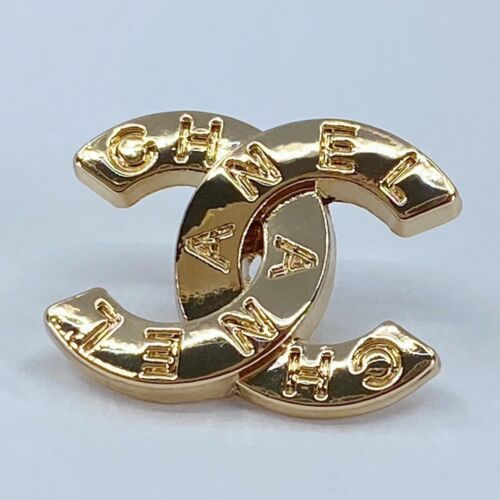 One Authentic CHANEL Button, Stamped Gold Metal 19mm Classic Designer Art Button