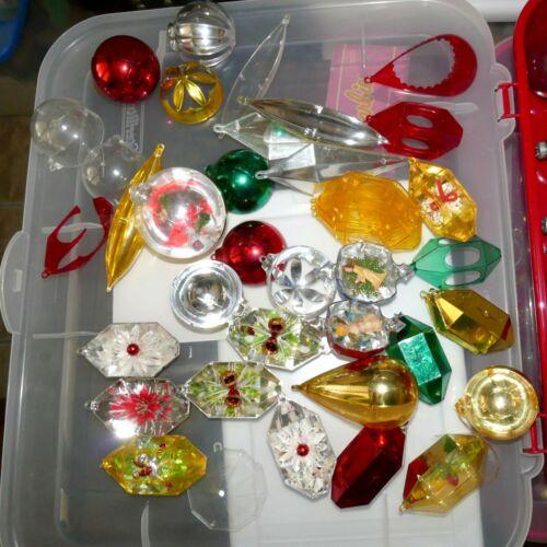 Christmas Ornament JEWELBRITE Plastic PARTS PIECES Appx 50 +/- AstdUSA SELLER
