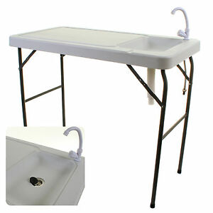 Camping sink ebay camping sink tap outdoor blow moulded white table unit cooking fishing folding workwithnaturefo