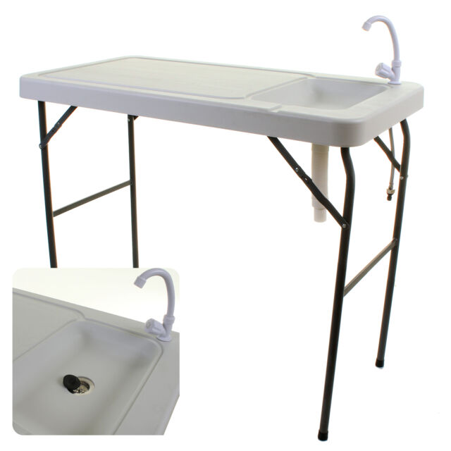 Camping Sink Tap Outdoor Blow Moulded White Table Unit Cooking Fishing Folding