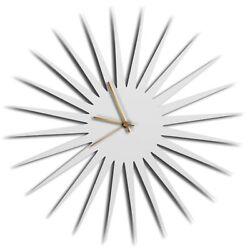 Mid-Century Modern Wall Clock Contemporary Kitchen Decor Minimalist White Accent