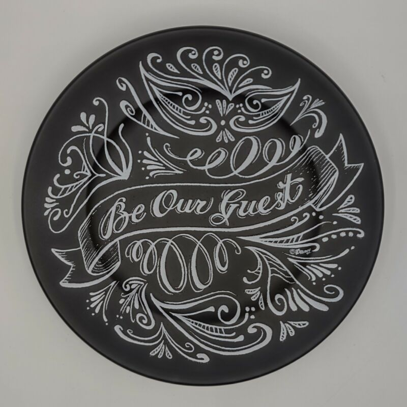 """Disney Beauty and The Beast Be Our Guest Black Chalkboard Style 7"""" Dessert Plate"""