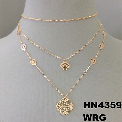 Filigree Cutout Clover Charms Rose Gold Finish Dainty Tripple Layered Necklace