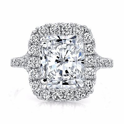 1.70ctw Natural Radiant Halo Pave Split Shank Diamond Engagement Ring - GIA