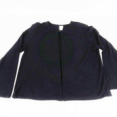 Eileen Fisher Medium Black  One Button Knit Cardigan Top