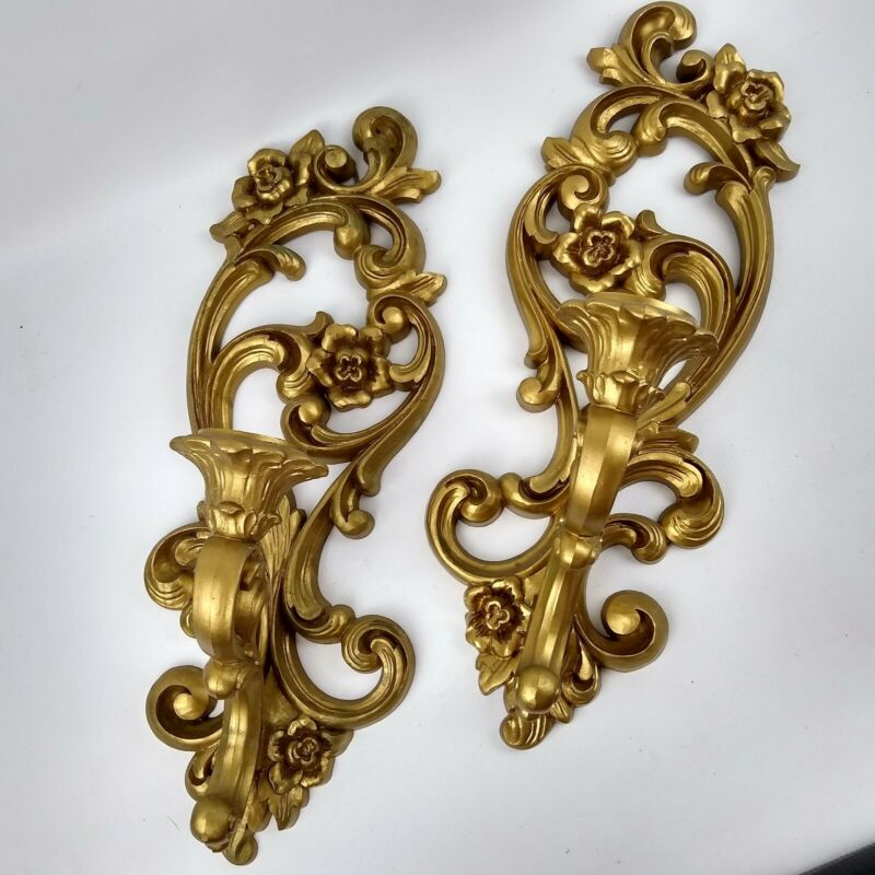 Syroco Candle Holder Wall Sconce Vintage Pair Hollywood Regency Floral Scroll