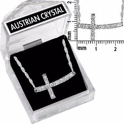 - Silver Sideways Cross * Austrian Crystal Necklace *15