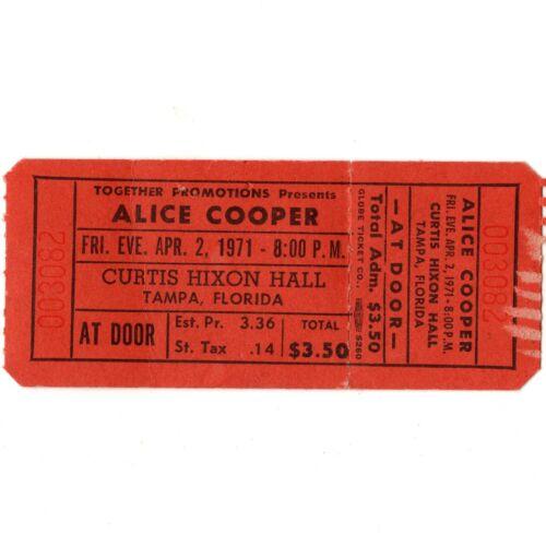 ALICE COOPER & TED NUGENT & AMBOY DUKES Concert Ticket Stub TAMPA 4/2/71 KILLER