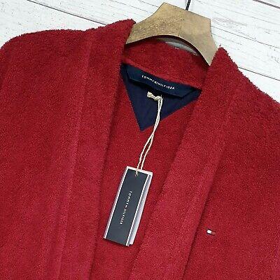 ⭐ Hombre Tommy Hilfiger Kimono Albornoz Bata Rojo Tejido de Rizo Algodón TALLA S