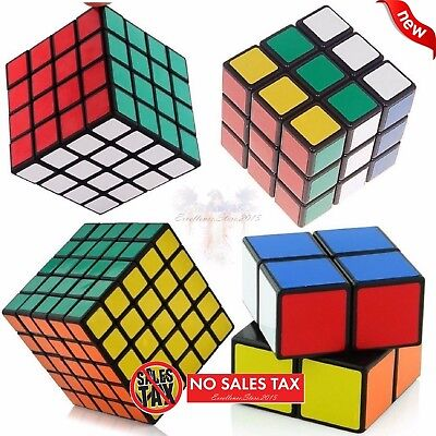 SET OF 4 Rubiks Cube Speed Puzzle Magic 2x2 3x3 4x4 5x5 Kids Toy Game Gift NEW