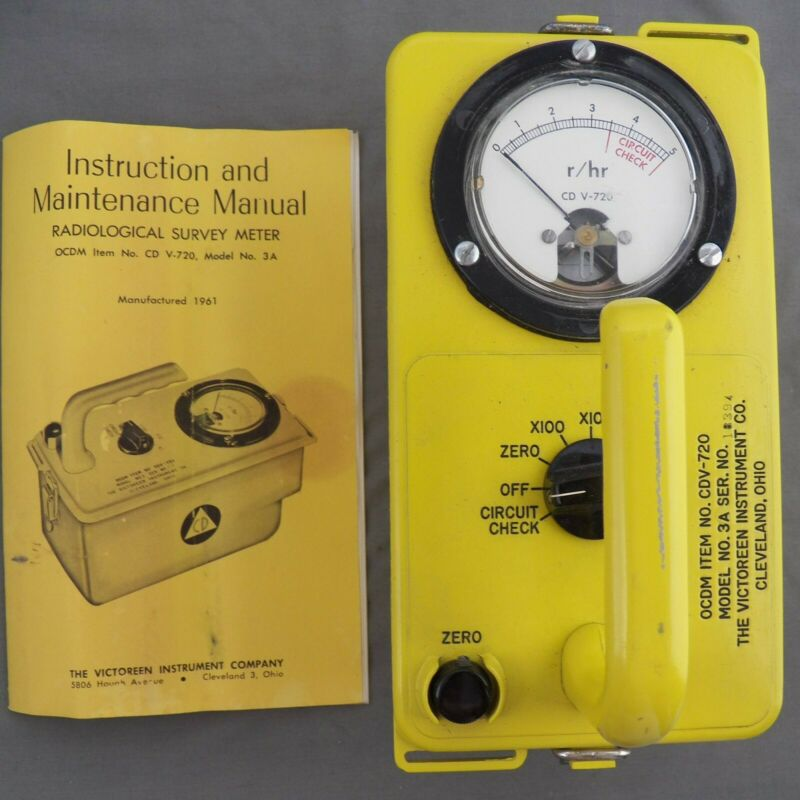 Vintage Civil Defense Radiation Detector Victoreen 1961 Cold War Era Relic