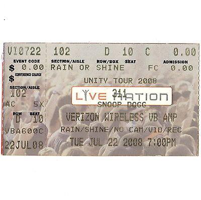311 & SNOOP DOGG Concert Ticket Stub VIRGINIA BEACH VA 7/22/00 FICTION PLANE