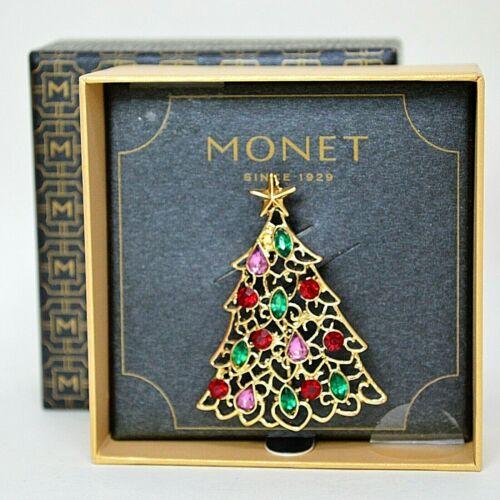 Monet Rhinestone Lace Christmas Tree Pin Brooch Signed IOB