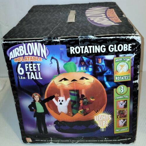 Gemmy Halloween Rotating Pumpkin Globe Ghosts Airblown Inflatable Lights Up 6ft
