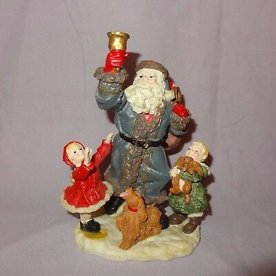 """Santa Claus Children Dogs Figurine Resin 7"""" Table Top Ringing Bell Christmas"""