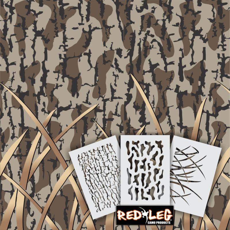 "Redleg Camo ™ DG10 - 3 piece camo stencil kit 18""x26"" duck boat"
