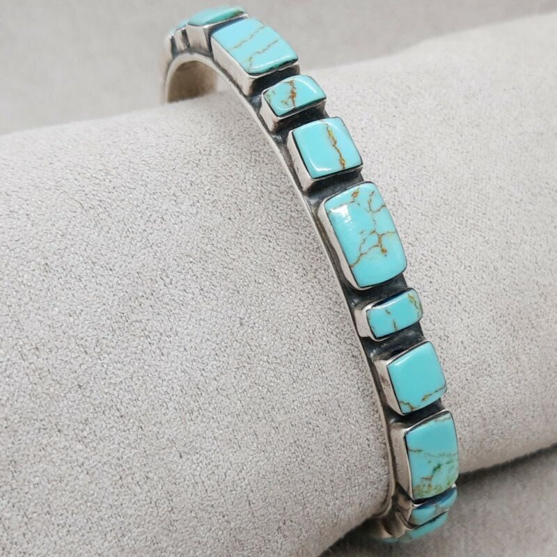 VINTAGE STERLING SILVER & TURQUOISE MULTI STONE BAND CUFF BRACELET - 24.2 grams