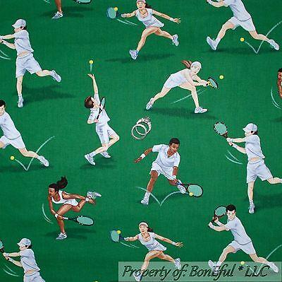 BonEful Fabric FQ Cotton Quilt Tennis Ball Sport Racket Game Skirt Top Lady Men Sports Ball Top