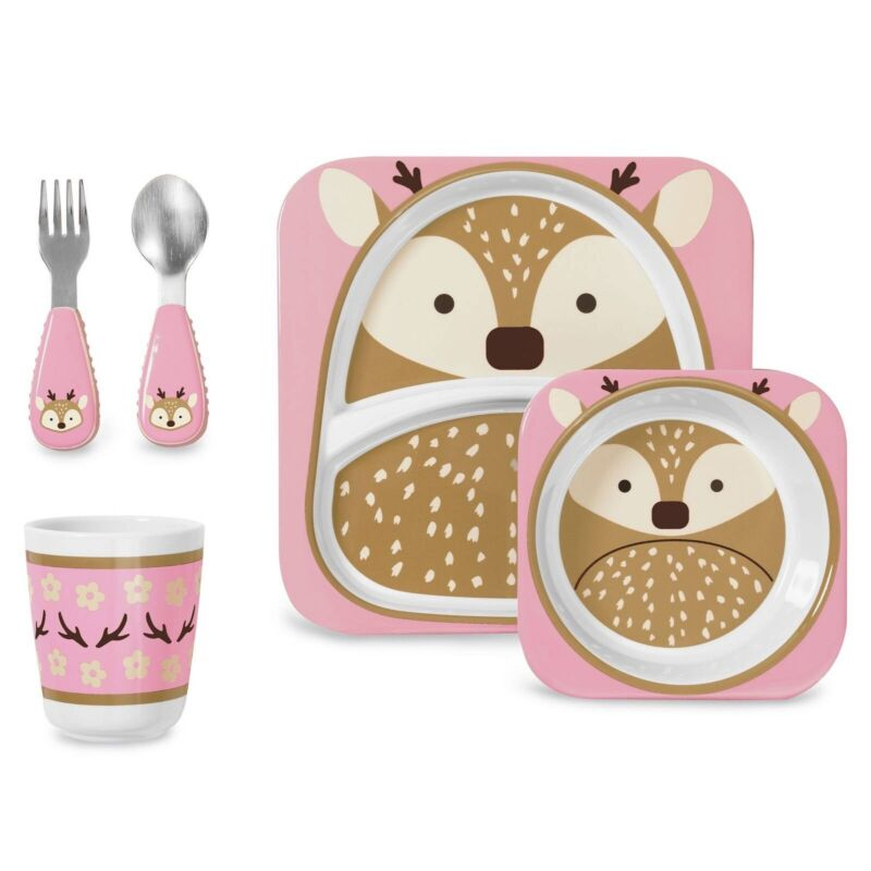 Brand new Skip Hop Daisy Deer Winter Zoo Mealtime Gift Set - Special Edition