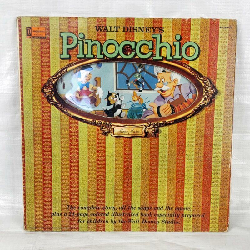 1960s Disney Pinocchio Storybook Record, Vintage Vinyl LP, Geppetto Blue Fairy