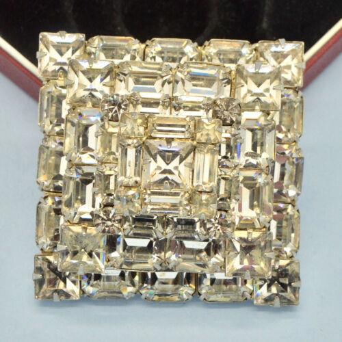 Vintage Brooch Large 1950s Designer Clear Crystal Silvertone Bridal Jewellery