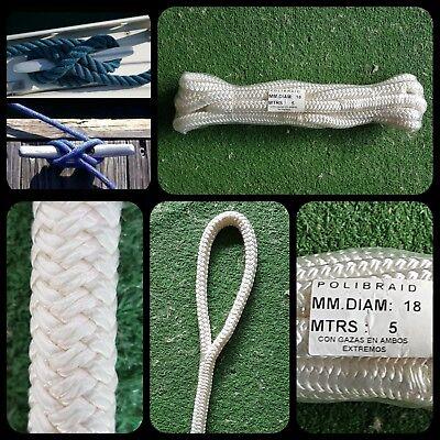 Driza Cuerda cabo soga nylon 18mm x 5 metros amarre nautica barco...