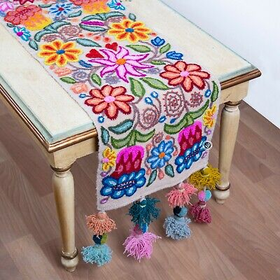 Floral table runners handmade from Peru- Luxury white Table Runners Embroidered