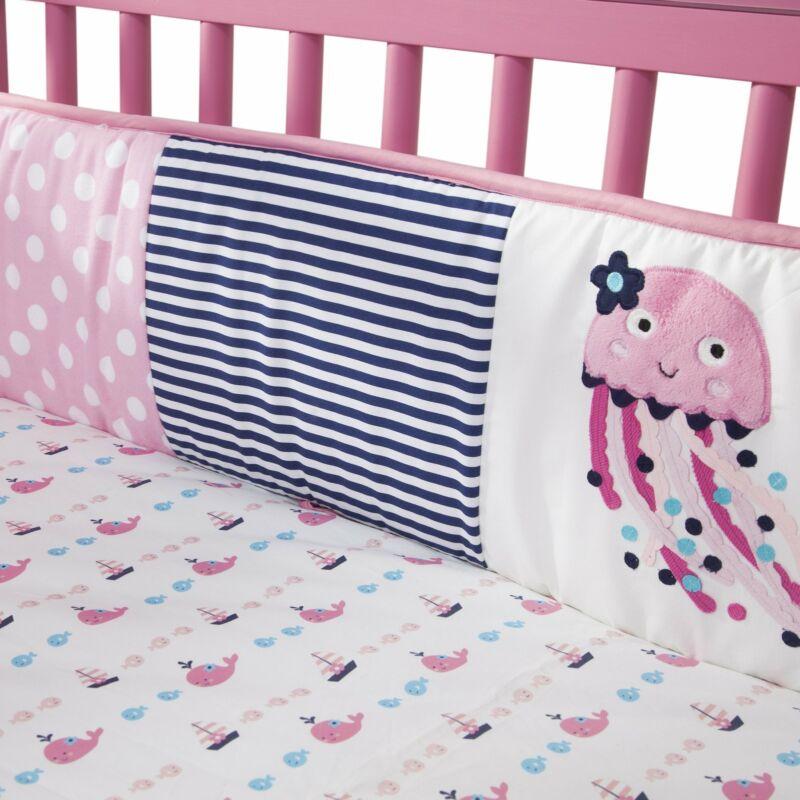 Lambs & Ivy Splish Splash 4-Piece Crib Bumper - Pink, White, Aquatic, Modern