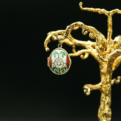 Faberge Egg Pendant Enamel Guilloche Locket with Swarovski Crystal for sale  Port Chester