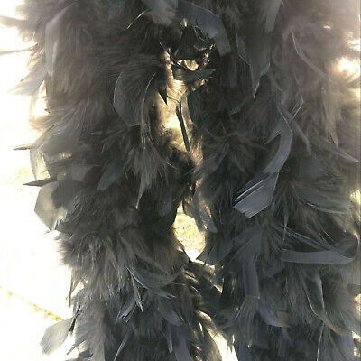 Black Chandelle Feather Boa Thick Turkey Feather Boa 85g - Feather Boa Black