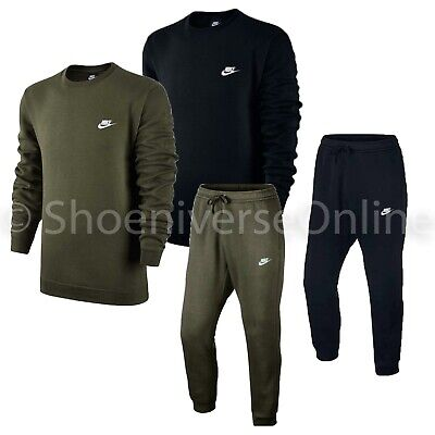 Nike Sportswear Tracksuit Set Crew Neck Fleece Sweatshirt Top Joggers Bottoms