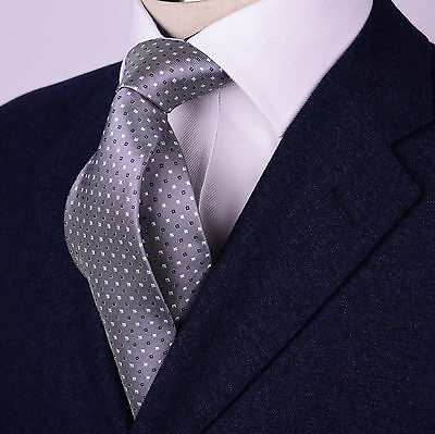 Mens Grey Skinny Tie Contrast Diamond Studs 3