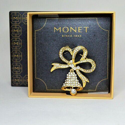 Monet Rhinestones Christmas Bell Pin Motion Brooch Dangle Gold Tone Signed IOB