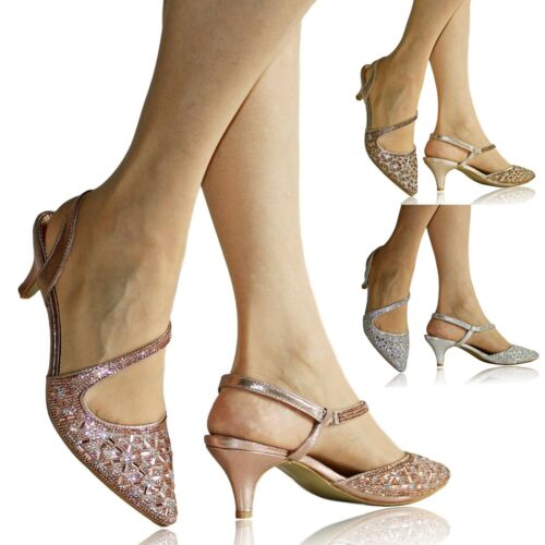 Womens Ladies Diamante Party Evening Prom Bride Low Kitten Heels Court Shoe Size